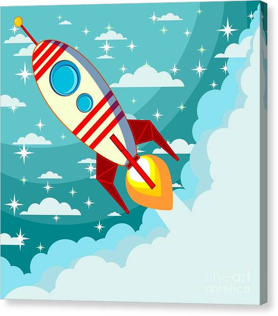Aliens Canvas Print - Cartoon Rocket Taking Off Against The by Alekseiveprev