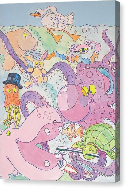 Cartoon Sea Creatures Canvas Print