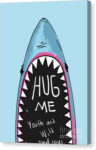 Teeth Canvas Print - Cartoon Shark For Kids Clothing by Yusuf Doganay