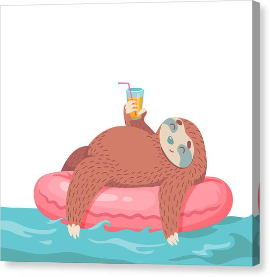 Printmaking Canvas Print - Cartoon Vector Sloth by Dromp