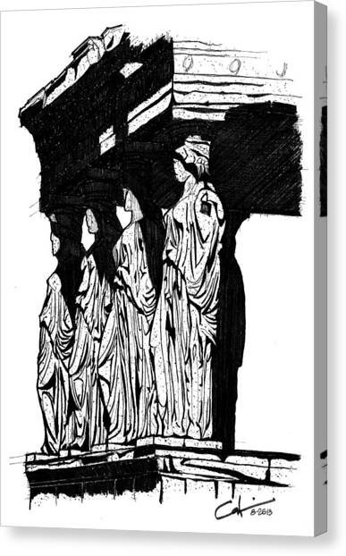 Caryatids In High Contrast Canvas Print