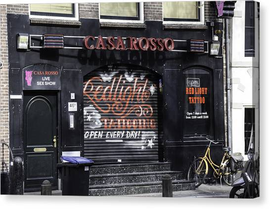 Sex Kitten Canvas Print - Casa Rosso Amsterdam by Teresa Mucha