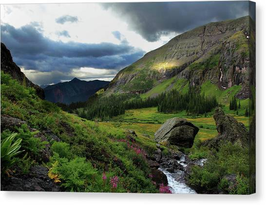 Cascade In Lower Ice Lake Basin Canvas Print by A. V. Ley