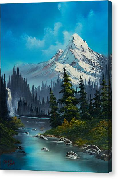 Bob Ross Canvas Print - Cascading Falls by Chris Steele