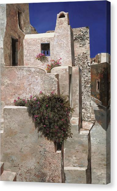Greek Art Canvas Print - case a Santorini by Guido Borelli