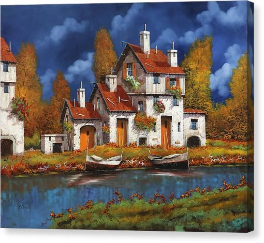White House Canvas Print - Case Bianche Sul Fiume by Guido Borelli