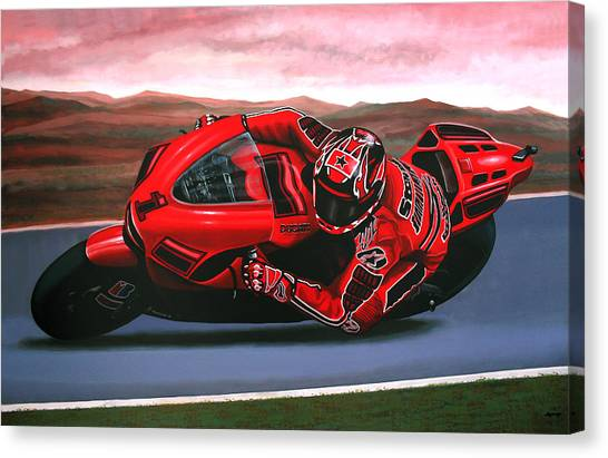 Yamaha Canvas Print - Casey Stoner On Ducati by Paul Meijering