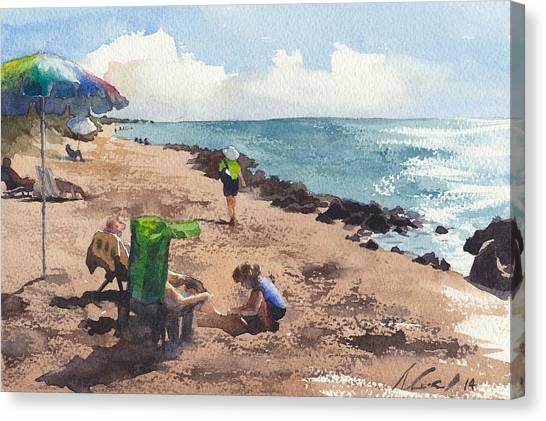 Shark Teeth Canvas Print - Lady At The Beach by Max Good
