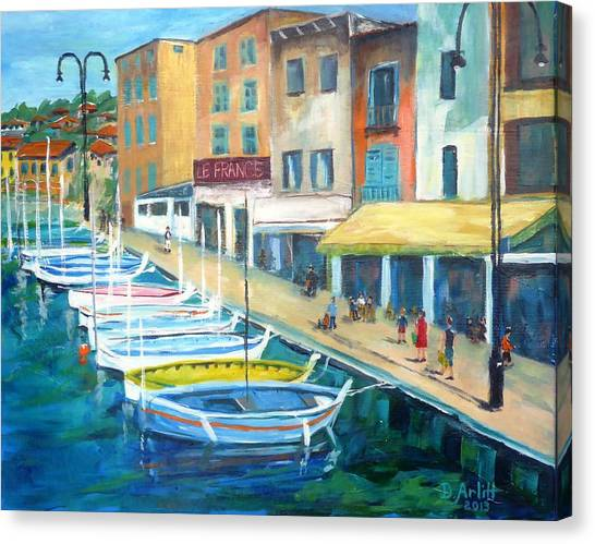 Cassis Waterfront Stroll Canvas Print