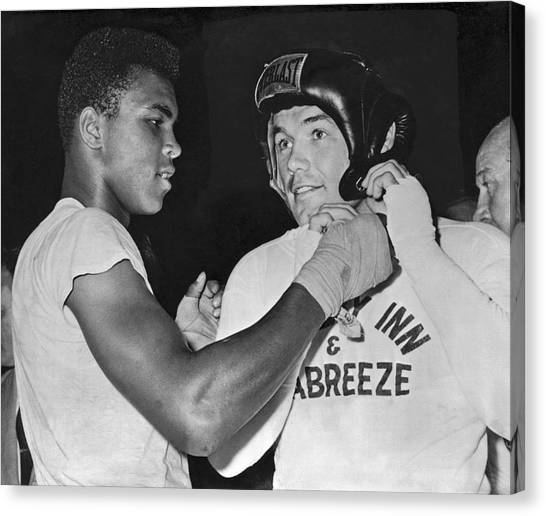 Muhammad Ali Canvas Print - Cassius Clay And Johansson by Underwood Archives