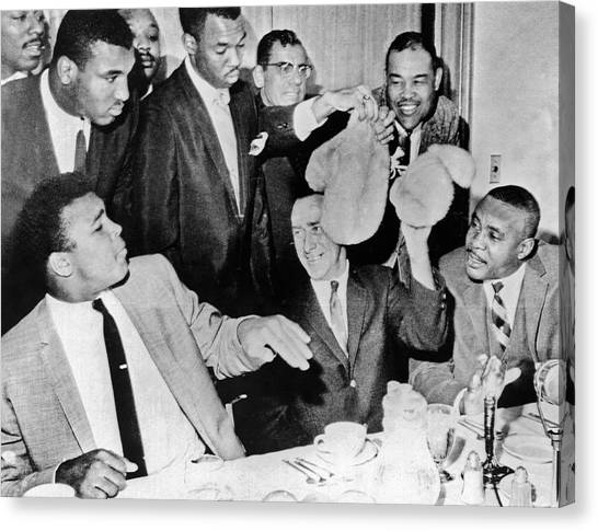 Press Conference Canvas Print - Cassius Clay Face Sonny  Liston by Underwood Archives