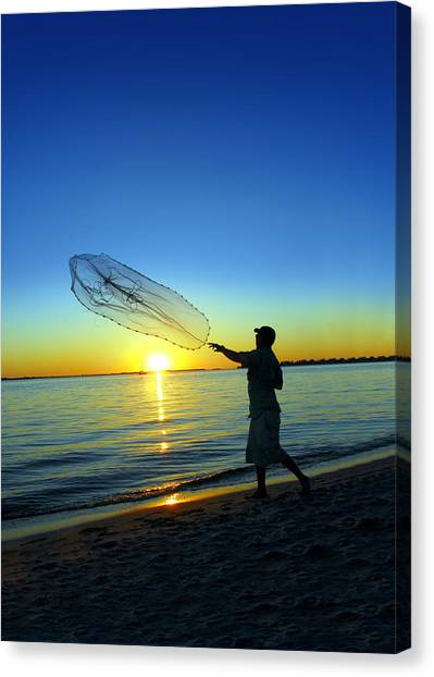 Fishing Poles Canvas Print - Cast Away by Jon Neidert