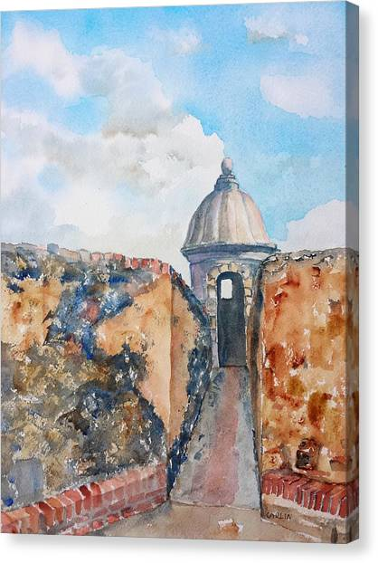 Castillo De San Cristobal Sentry Door Canvas Print