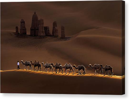 Camels Canvas Print - Castle And Camels by Mei Xu
