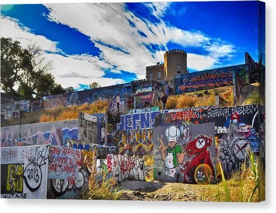 Austin Castle And Graffiti Hill Canvas Print