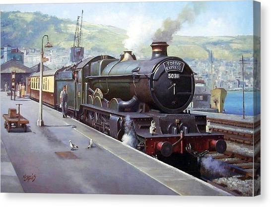 Steam Trains Canvas Print - Castle At Kingswear 1957 by Mike Jeffries