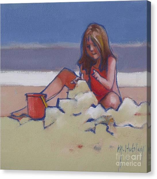 Castle Buiilding Sandcastles On The Beach Canvas Print