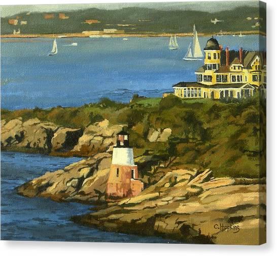 Beach Cliffs Canvas Print - Castle Hill Light And Inn Newport Rhode Island by Christine Hopkins