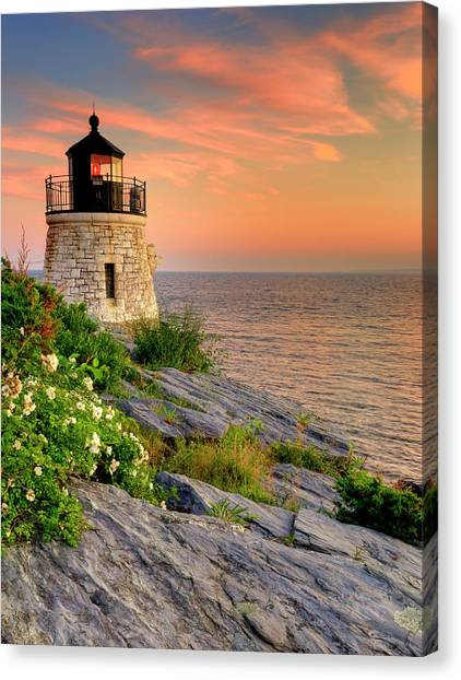 Historic Architecture Canvas Print - Castle Hill Lighthouse-rhode Island by Expressive Landscapes Fine Art Photography by Thom