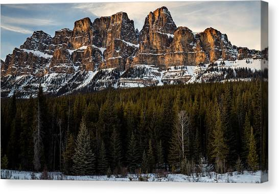 Castle Mountain At Sunset  Canvas Print