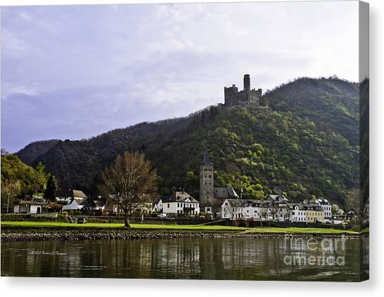 Castle On Hill Above Town Canvas Print