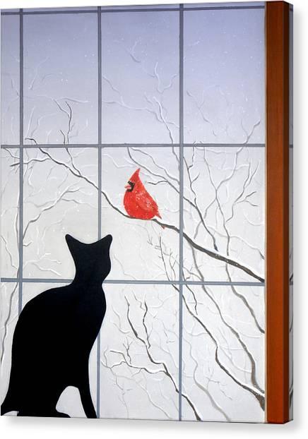 Cat And Cardinal Canvas Print