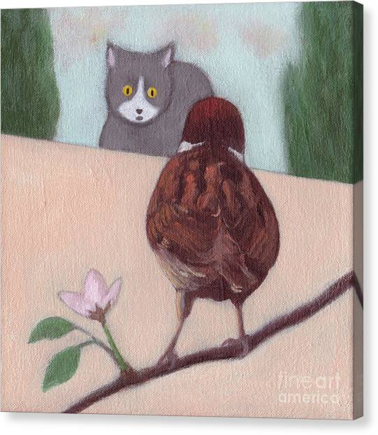 Cat And Sparrow  Canvas Print