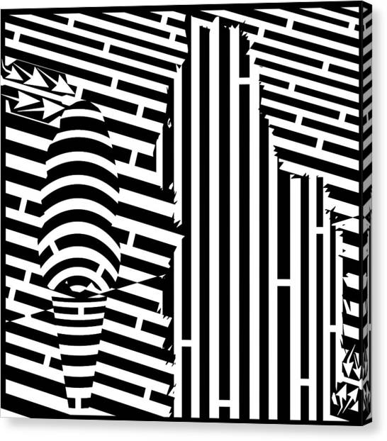 Cat And The Ice Cream Cone Maze Canvas Print by Yonatan Frimer Maze Artist