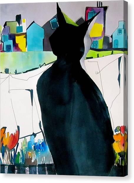 Canvas Print - Cat At The Window by Jane Ferguson