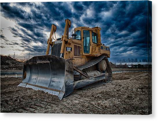 Excavators Canvas Print - Cat Bulldozer by Mike Burgquist