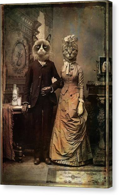 Humour Canvas Print - Cat Couple by