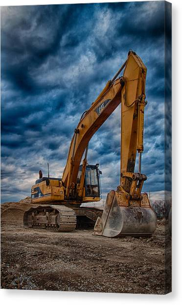 Excavators Canvas Print - Cat Excavator by Mike Burgquist