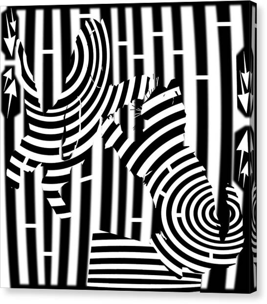 Cat Fight Maze Canvas Print by Yonatan Frimer Maze Artist