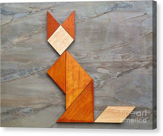 Cat Figure - Tangram Abstract Canvas Print