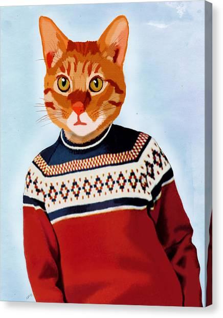 Cat In A Ski Jumper Canvas Print by Kelly McLaughlan