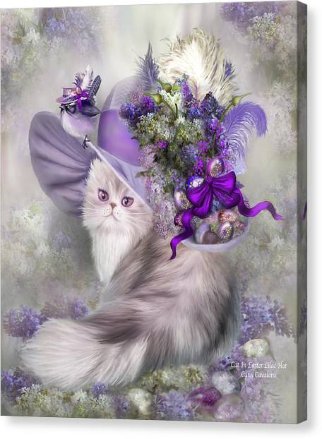 Easter Eggs Canvas Print - Cat In Easter Lilac Hat by Carol Cavalaris