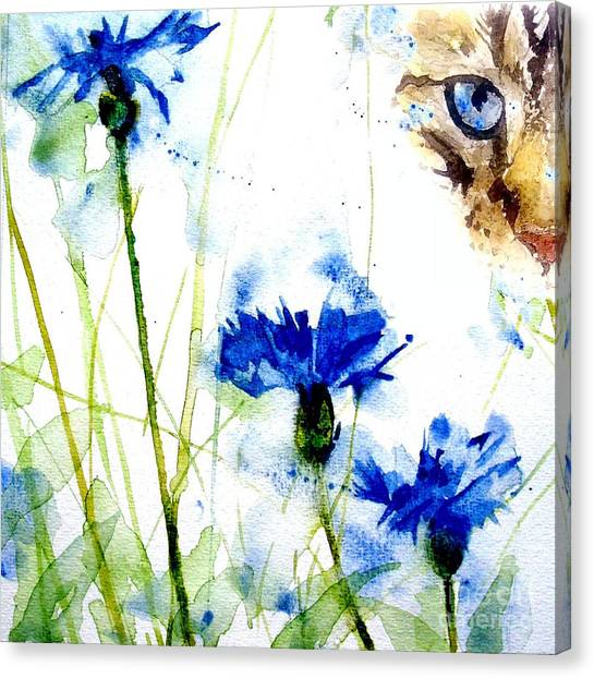 Tabby Canvas Print - Cat In The Cornflowers by Paul Lovering