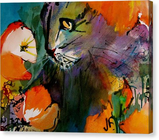 Canvas Print - Cat In The Poppies by Jane Ferguson