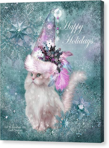 Canvas Print featuring the mixed media Cat In The Snowflake Santa Hat by Carol Cavalaris
