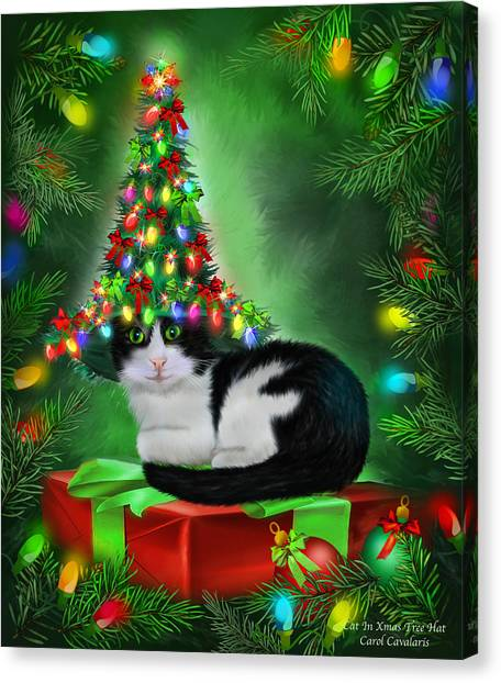 Canvas Print featuring the mixed media Cat In Xmas Tree Hat by Carol Cavalaris