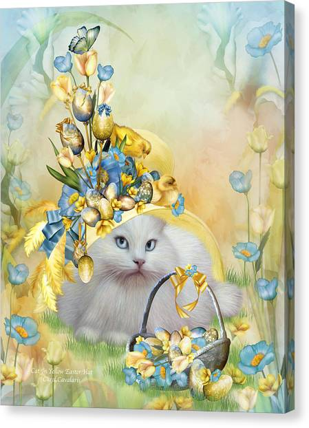 Easter Baskets Canvas Print - Cat In Yellow Easter Hat by Carol Cavalaris