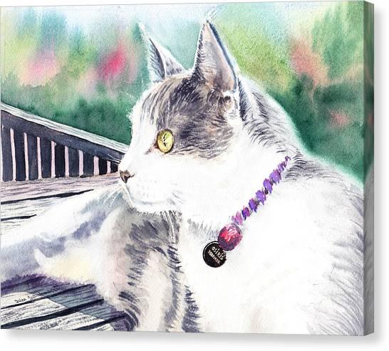 Watercolor Pet Portraits Canvas Print - Cat by Irina Sztukowski