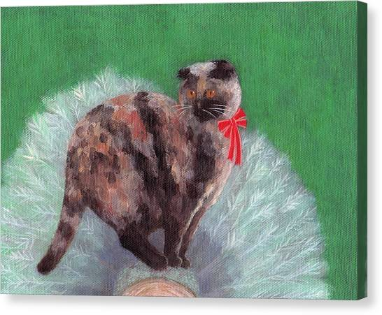Scottish Folds Canvas Print - Cat On Christmas Tree by Kazumi Whitemoon