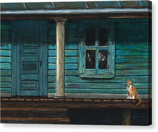 Cat On The Porch Canvas Print