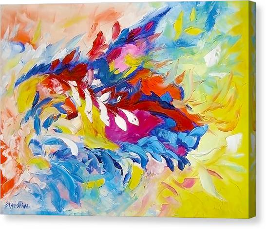 Cat Panther Painting Abstract Art Bright Colors Canvas Print