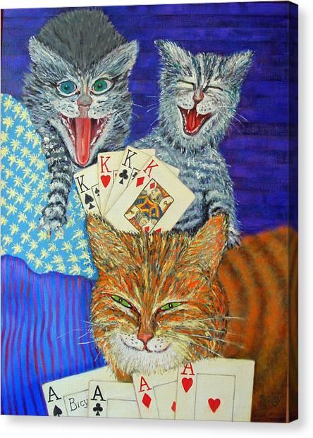 Cat Poker Canvas Print