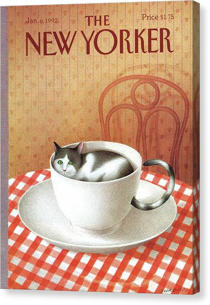 Diners Canvas Print - Cat Sits Inside A Coffee Cup by Gurbuz Dogan Eksioglu