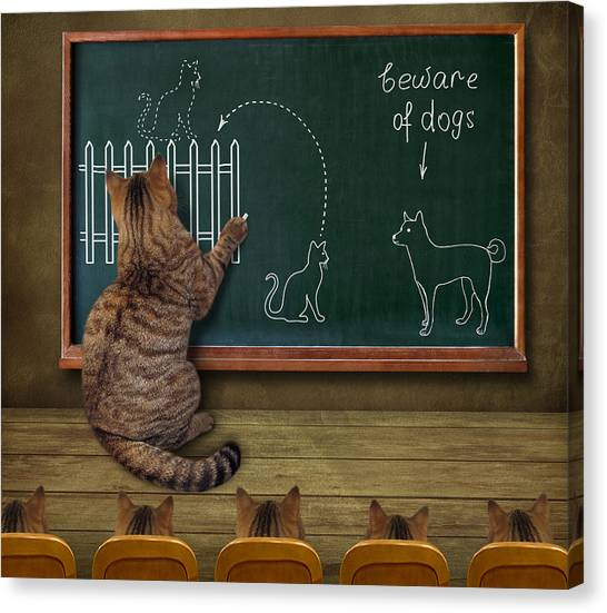 Humour Canvas Print - Cat Teacher And His Pupils... :) by Iryna Kuznetsova (iridi)