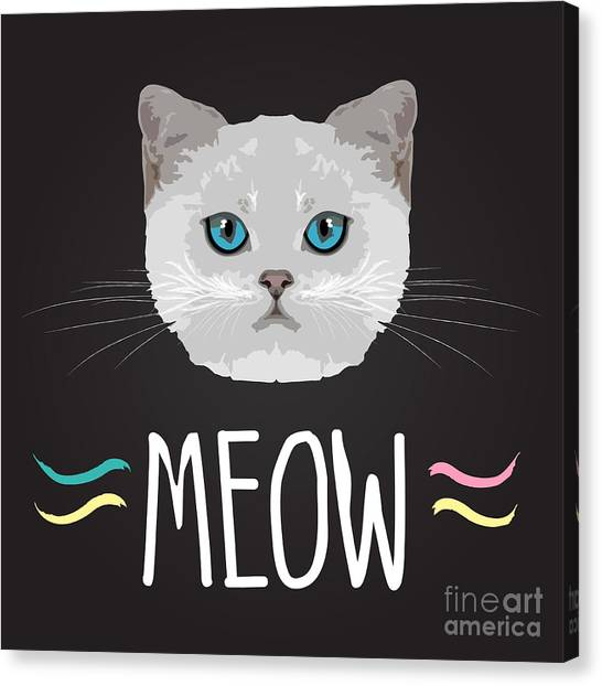 T Shirts Canvas Print - Cat Typography, T-shirt Graphics by Patterntrends