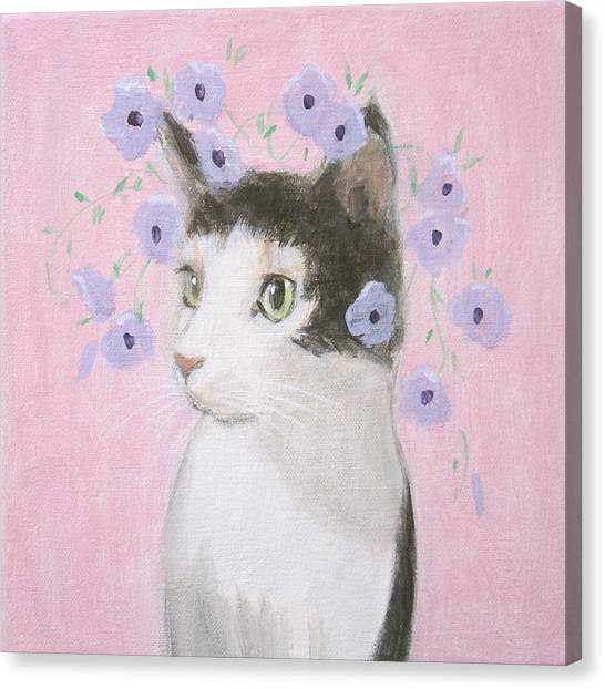 Cat With Purple Flowers Canvas Print
